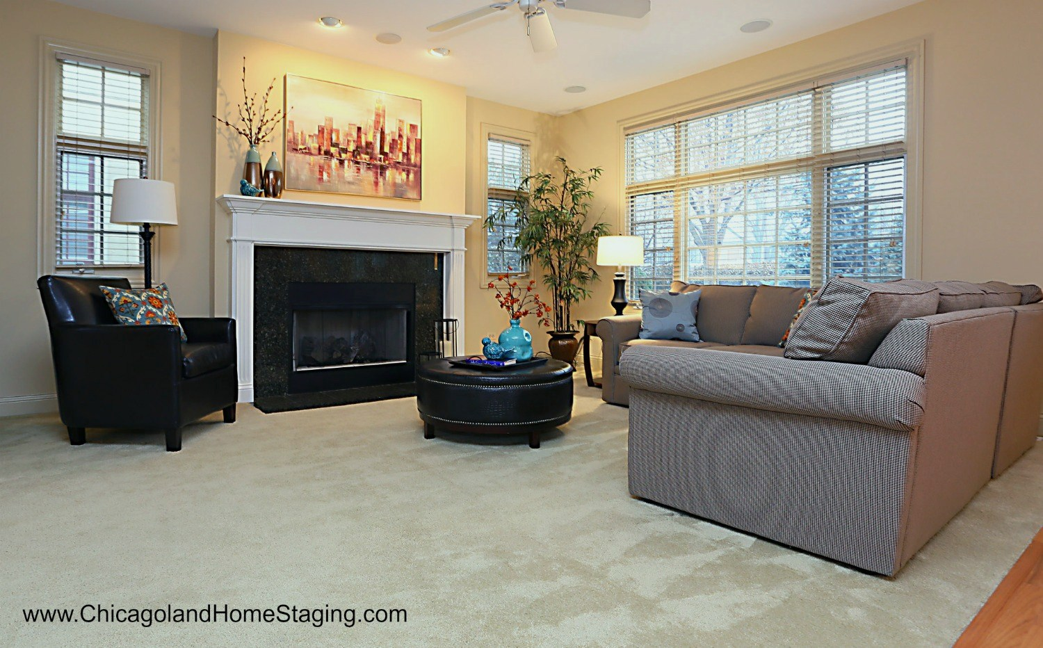 Home Staging Tips: Furniture doesn't belong shoved up against the walls.