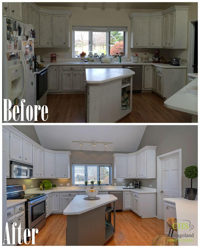 Home Staging Before And After Photos From West Chicago  : Kitchen 1 Collage from chicagolandhomestaging.com size 650 x 804 png 777kB
