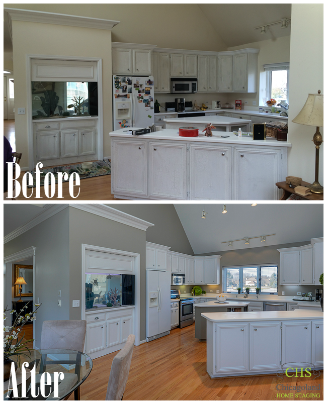 Kitchen Staging Before And After: Chicagoland Vacant Home Staging