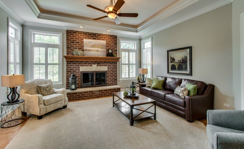 Naperville family room fully staged
