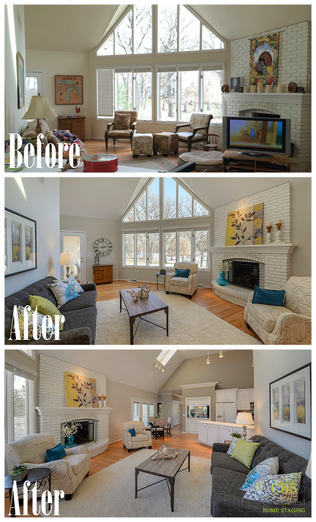 West Chicago Chicagoland Home Staging, Living Room Staging A House Before And After