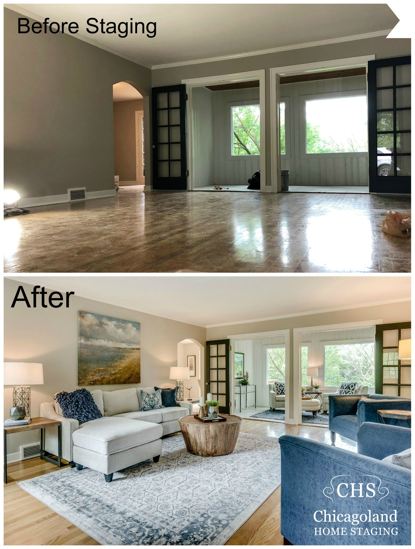 Cottage Style Home Staged In Burr Ridge, Living Room Staging A House Before And After
