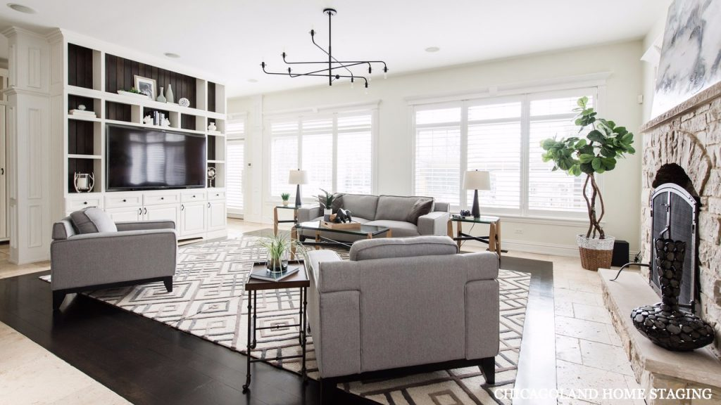 Chicagoland Home Staging Living Room Glen Ellyn